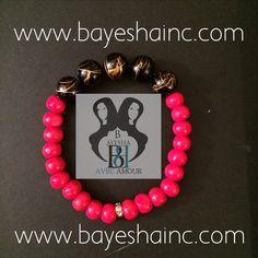 Black w/Gold Swirl Red ~ Beaded Bracelet Set