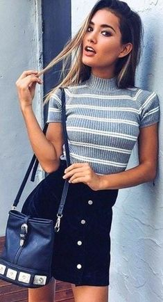 10 cool summer college outfits you can totally copy skirt outfits for winter, black summer Mode Outfits, Trendy Outfits, Outfits 2016, Cute Outfits For Parties, Simple Outfits, Outfits For Women, Summer Outfits For Teen Girls Hipster, Uni Outfits, Fashionable Outfits