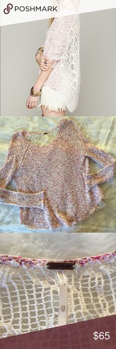 Free People Marled Lace Back Pullover Sweater This sweater is super beautiful!! Size XS. Smoke and pet free home. Only worn once. No trades. No flaws! Free People Sweaters