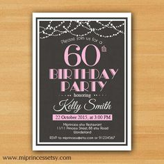 Surprise Birthday Invitation for any age, 30th 40th 50th 60th 70th 80th 90th birthday invitation modern theme- card 760