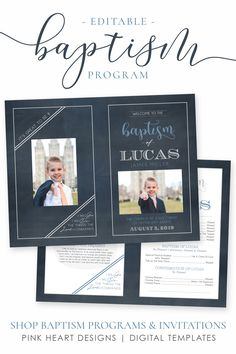 Save time preparing for your son's baptism with this classic baptism program! Your information and photos can be added by you!   Click to view this baptism program and a matching invitation now!  #baptismprogam #LDSbaptism #boybaptism #LDSprintable #ldsbaptismprogram #LDSbaptisminvitation #printableprogram #editablebaptism #boybaptismprogram Baptism Invitations, Pink Invitations, Lds Baptism Program, Birth Announcement Template, Heart Designs, Photoshop, Boy Baptism, Portrait Photo, Jesus Christ