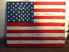 For my first project I've made with recycled wooden pallets, I worked on this American flag :)  #Flag, #RecycledPallet