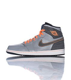 JORDAN Men's high top sneaker Lace closure Perforation throughout for breathability Padded tongue with logo Affiliate NIKE swoosh on side Cushioned sole