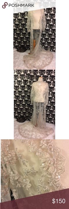 Lace Bridal Coat with Train Long sleeve lace Beaded and embroidered Bridal jacket with long train. Scalloped edges. Beautiful. No damage, no signs of wear. Style 1755LS color 661(TPY) lot 03911 Bridal size 12 USA Alfred Angelo Other