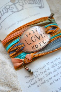 Faith Hope Love- Boho Silk Wrap Bracelet- Christian jewelry- wrap bracelet on Etsy, $32.00