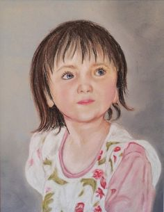 'Elise' by Cheryl Sunley. A4 size portrait of young girl done in soft pastels.