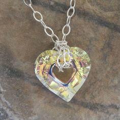 "I ""heart"" this! <3  Pendant Swarovski Crystal Crystal Clear by LisaBolandJewelry, $32.00"