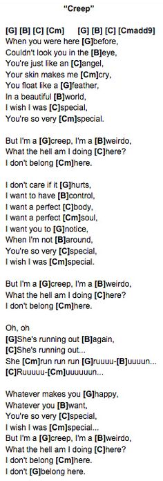 Creep (Radiohead) Ukulele Chords