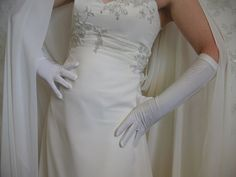 Ivory wedding gloves Three quarter length gloves by DesignByIrenne