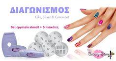 Διαγωνισμός με δώρο ένα σετ Stencil Stencils, Nail Polish, Nails, Beauty, Finger Nails, Ongles, Nail Polishes, Polish, Templates