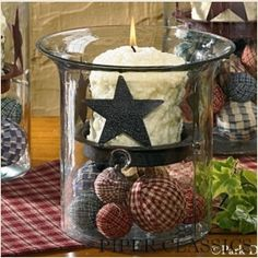 "Our Glass Cylinder -9"" by Park Designs has a solid bottom making it ideal to be filled with your favorite potpourri, rag balls or other collections. Or as shown add a star candle holder (sold separately). 9"" high x 6 1/2"" diameter."