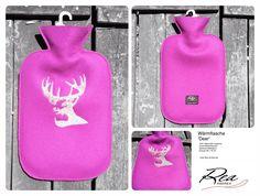 Wärmflasche 'Deer' -- 100% Merinofilz magenta - GummiWärmflasche - Stickerei Silbergarn - Grösse 26 x 16 cm