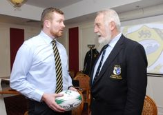 Carrick-on-Shannon RFC President Sean McKeon chats with Connacht Branch President Adrian Leddy Rugby Club, Presidents, Dads, Product Launch, Blazer, Sports, Jackets, Hs Sports, Down Jackets