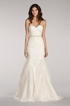 Strapless wedding dress with textured skirt by Blush, Spring 2014