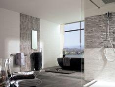 Wall: Jersey Mix / Jersey Nieve, Floor: Aston Antracita, Vanity: Krabi, Faucet: Soft, Tub: Samara, Shower Column: Ducha Shower Pack