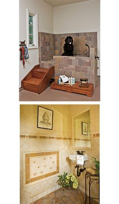 The picture on top has an interesting idea of adding stairs to elevate the dog/kid shower in the mudroom. Would be a lot easier than bending down to r… – Laundry Room Pole Barn House Plans, Pole Barn Homes, Corner Deco, Dog Bath Tub, Dog Washing Station, Barndominium Floor Plans, Dog Rooms, Dog Shower, Dog Houses