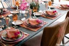 """Tables should always be dolled up, even when the occasion is casual, says the founder of Leontine Linens, Jane Scott Hodges. """"Using colorful linens — instead of white or ivory — can really give your table personality,"""" she says. """"This isn't your grandma's table.""""   - HouseBeautiful.com"""