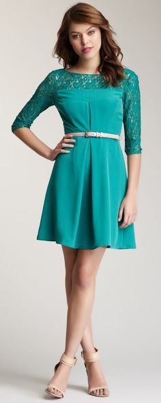 Jessica Simpson 3/4 Length Sleeve Lace Detail Dress