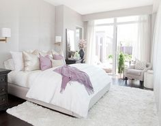 Purple and white bedroom inspiration. These colours look so good together