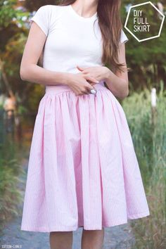 DIY Flared Skirt - Such a cool and super easy free sewing pattern! Love the styling of this photoshoot too. Get more fashionable free sewing patterns at www.sewinlove.com.au