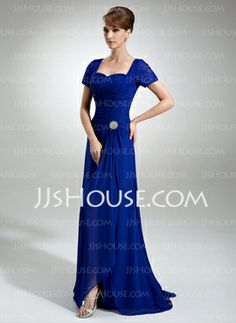 A-Line/Princess Sweetheart Sweep Train Chiffon Lace Mother of the Bride Dress With Ruffle Crystal Brooch (008005960) - JJsHouse