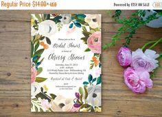 SALE SALE SALE Blooming Flower Bridal Shower Invitation custom 5x7 printable fresh floral bridal wedding shower invite acrylic painting call