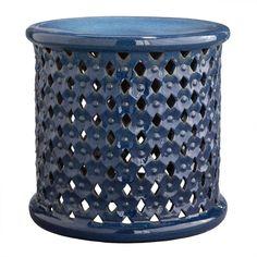 indigo diamond ceramic stool