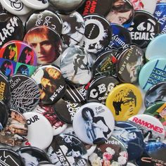 """Choose Any 9 Indie Badges Mostly UK from the List Choose Nine 1.25"""" Buttons or Pins - JOY DIVISION • NEW ORDER • THE CURE • SIOUXSIE • THE SMITHS • MORRISSEY • GANG OF FOUR • BOWIE -over 1000 titles to choose from!,  by psychedelictara, $15.00"""