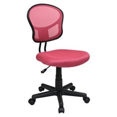 Pretty much this style but grey or black... no bright colors allowed at the office.  No arms is really important. I don't like armed chairs.