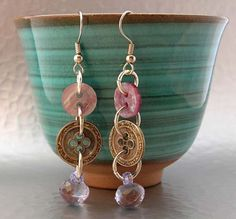 earrings with button and beads
