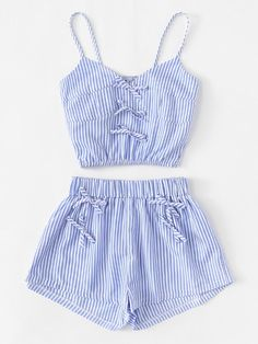 Contrast Stripe Crop Cami Top With ShortsFor Women-romwe Cute Outfits For School, Cute Girl Outfits, Cute Summer Outfits, Cute Casual Outfits, Outfits For Teens, Pretty Outfits, Girls Fashion Clothes, Teen Fashion Outfits, Jugend Mode Outfits