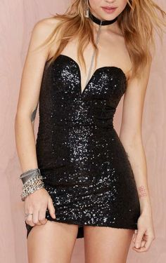 Black Sequin Mini Dress