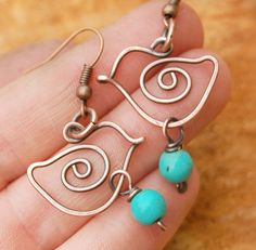 Bird Earrings. Wire Bird. Copper. Howlite Turquoise. Drop. Wire Jewelry.