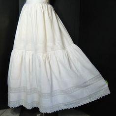 1900s Vintage Antique Petticoat Slip Skirt Double Layer Full Length White Cotton Diamond Filet Crochet Edwardian Waist 24 25. $69.00, via Etsy.