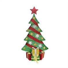 "39"""" Lighted Green and Red Tinsel Decorated Christmas Tree with Gifts Yard Art Decoration"