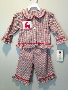 NWT Girl Size 12 Months Smocked Reindeer Christmas Holiday Pajamas #SmockadotKids #TwoPiece