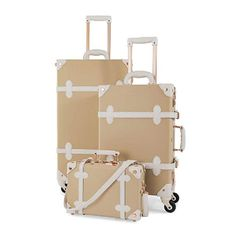 Like all our spinner suitcase, this luggage set boasts the modern amenities of an extendable trolley handle, pu leather straps, two rose gold combined locks and four silent-glide spinner wheels for elegant mobility. Cute Luggage, Vintage Luggage, Travel Luggage, 3 Piece Luggage Set, Luggage Sets, Designer Travel Bags, Carry On Suitcase, Cream White, Cosplay Costumes
