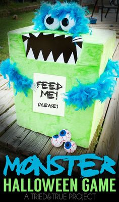 "Make this crazy easy ""Feed the Monster"" Halloween Game for your next party! All you need is a few supplies and hot glue!"