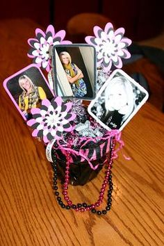 DIY Graduation Decorations could also change and put in different ages of pics for a wedding table decoration @Theresa Burger Burger arnold