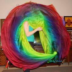 Sahariah's Silk Belly Dance Veil Killer Tornado Poi Voi Set 2 Poi Veils and Set of Poi Chains by SilksbySahariah on Etsy