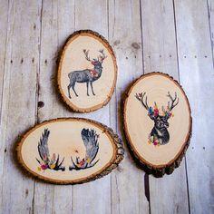 Printed Wood Wall Art You choose Floral Deer by knollwoodlane