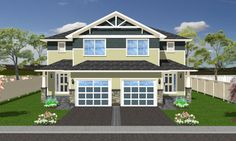Craftsman Style Duplex House Plan No.195260