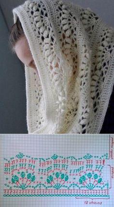 Crochet Shawl Diagram, Crochet Motifs, Crochet Stitches Patterns, Crochet Poncho, Crochet Chart, Crochet Scarves, Crochet Clothes, Free Crochet, Knitting Patterns