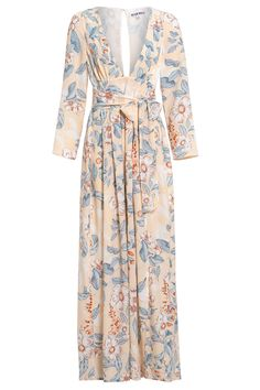 "<p style=""text-align: center;"">The yoko maxi floral dress will take you everywhere this summer. Be daring with two thigh-high front splits, a plunge front and back detail, finished with a self-tie belt and a concealed back zip.</p>"