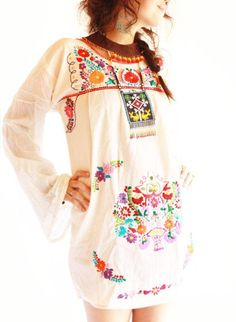 LOOOVEEE this! Woodstock Mexican hippie embroidered dress long bell sleeves