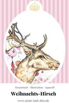 Zeichnung, Aquarell, Weihnachten, Hirsch, Fantasy