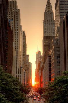 New York at sunset.