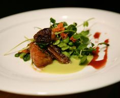 Chef Courtney Withey's crispy veal sweetbreads with sweet pea purée, morels, fava beans, and crispy pea tendrils - April 11 (Photo by David Braunstein)