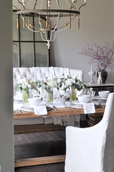 Easter Dining Room Table Decor with White Hydrangeas and Tulips