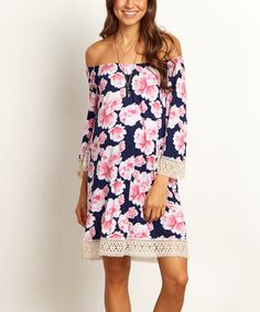 Love this PinkBlush Navy Blue Floral Maternity Off-Shoulder Dress on #zulily! #zulilyfinds